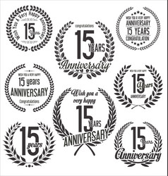 Laurel wreaths anniversary collection 15 years vector
