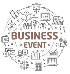 Line flat circle business event vector