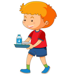 little boy with food on tray vector image