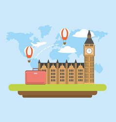 London travel with air balloons and baggage vector