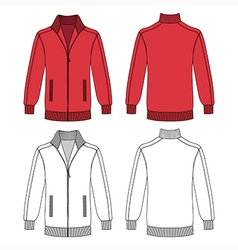 Long sleeve red jacket with zipper vector