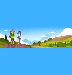 man and woman tourists with backpacks over vector image