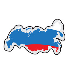 map of russia with its flag vector image