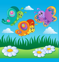 Meadow with butterflies theme 1 vector