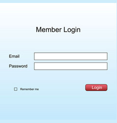 member login form page blanc interface template vector image