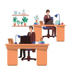 Men working in office avatar character vector