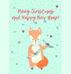 Merry christmas greeting card with cute xmas fox vector