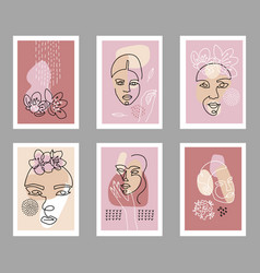 modern abstract faces poster set contemporary vector image
