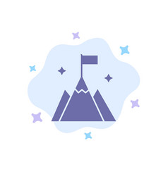 Mountain flag user interface blue icon on vector