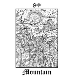 Mountain tarot card from lenormand gothic vector