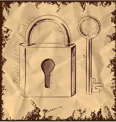 Old key and lock on vintage background vector