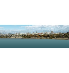 Panorama of the city by the river vector