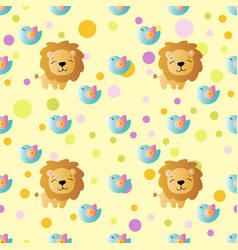 pattern with cartoon cute toy baby lion and bird vector image