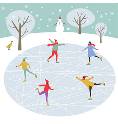 people skating merry christmas card vector image