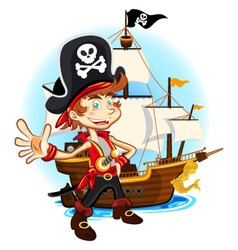 Pirate Kid and His Big War Ship vector image