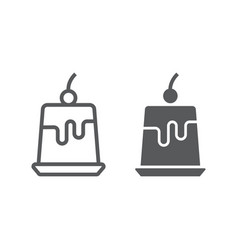 Pudding jelly line and glyph icon sweet and tasty vector