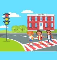 Pupils go home after classes crossing pedestrian vector
