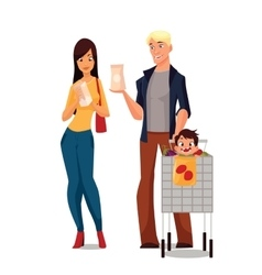 Purchase of food products cartoon young family vector