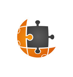 puzzle technology logo in grey orange color vector image