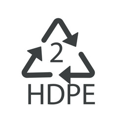 Recycling symbol plastic hdpe 2 recyclability vector