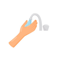 Rinsing hands with water hygiene health care and vector