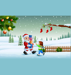 santa claus holding a boxes gift and little girl i vector image