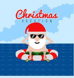 Santa claus on a beach christmas summer vacation vector