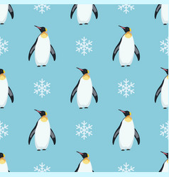 Seamless winter pattern with penguins vector