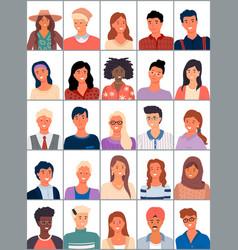Set avatars in flat design positive avatars vector