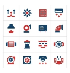 Set color icons of ventilation and conditioning vector