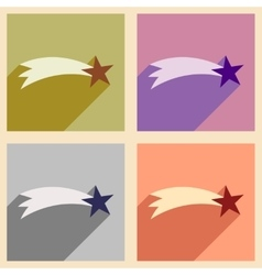 Set flat icons with long shadow Christmas star vector