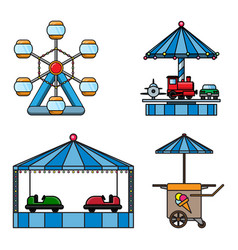 Set icons amusement park isolated on white vector