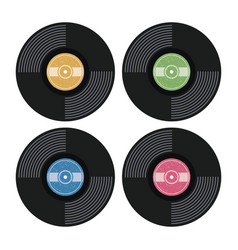 set music retro vinyl record flat icons vector image