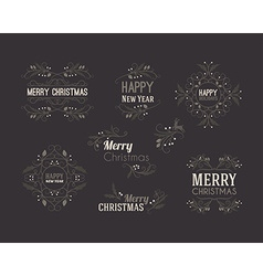 Set of Christmas Decorative Greeting Badges with vector