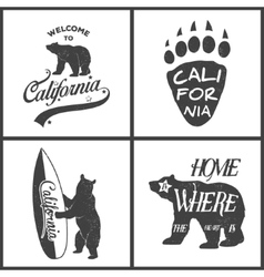 set of vintage monochrome california emblems vector image