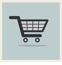 Shopping Cart Icon on Retro Blue Background vector image