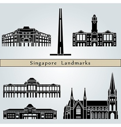 Singapore landmarks and monuments vector image