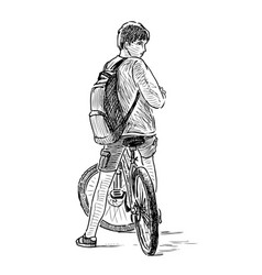 Sketch a teen boy on a bicycle vector