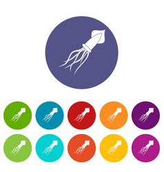 Squid icons set flat vector