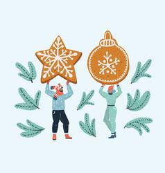 Sweet gingerbread in couples hands vector