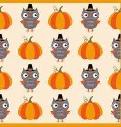 thanksgiving seamless pattern owls and pumpkins vector image