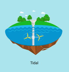 Tidal turbines power plant and factory green aqua vector