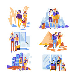 tourism traveling couples and families vacation or vector image