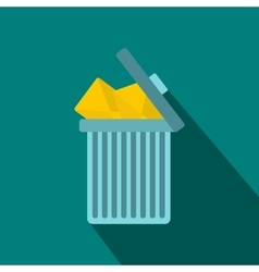 Trash can icon with envelopes icon flat style vector