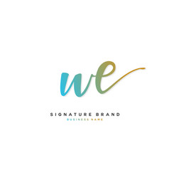 W e we initial letter handwriting and signature vector