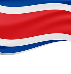 Waving flag of costa rica isolated on white vector