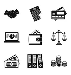 Wealthy financiers icons set simple style vector