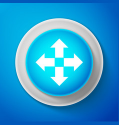 white arrows in four directions icon isolated vector image