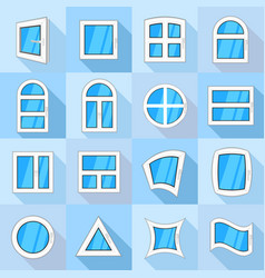 Window forms icons set flat style vector