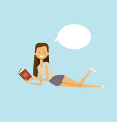 woman reading book lies bubble chat female vector image